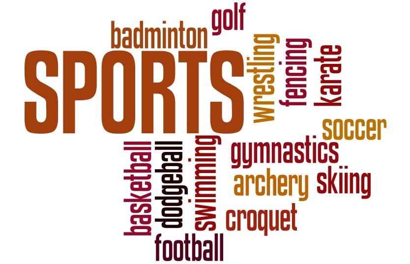 Show a wordle containing the different sports you will cover